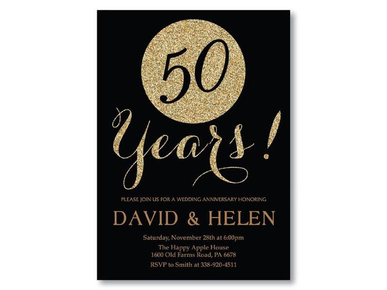 Invitación De Aniversario De Boda 50 Oro Brillo Negro Y Oro 10 20 25 30 40 Cualquier Año Digital Para Imprimir Tarjetas Personalizadas