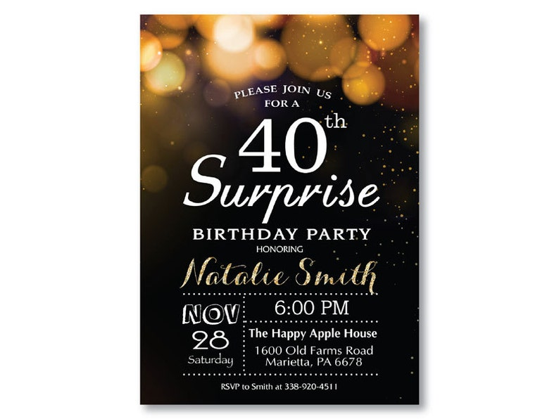 Surprise 40th Birthday Invitation For Woman Or Man Gold