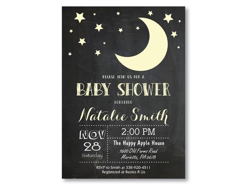 Moon Baby Shower Invitation Stars Baby Shower Invitation Etsy