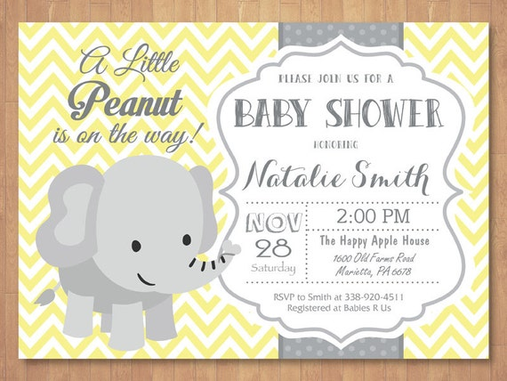 Elephant baby shower invitation yellow gray pink blue purple etsy image 0 filmwisefo