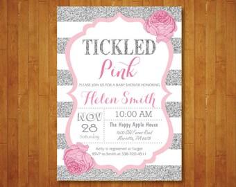 Tickled Pink Baby Shower Invitation. Pink and Silver Baby Shower Invitation. Tickled Pink Invitation. Pink Floral Flower. Printable Digital.