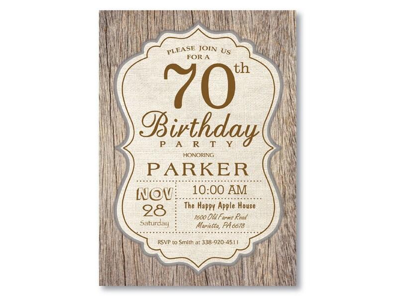 70th Birthday Invitation Rustic Wood Vintage Man