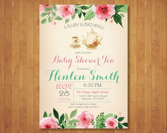 Baby Shower Tea Party Invitation. Flower Floral Vintage. A Baby is Brewing. Bridal Shower Tea Party Invite. Printable Digital.