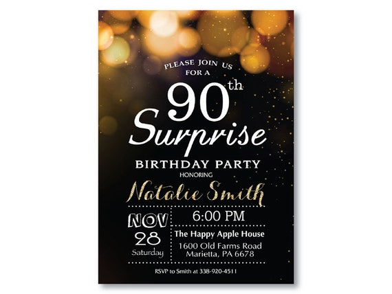 Surprise 90th Birthday Invitation For Woman Or Man Gold