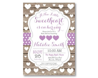 Little Sweetheart Baby Shower Invitation. Valentines Baby Shower Invitation. February. Pink, Red, Purple. Girl or Boy. Printable Digital.