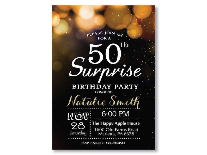 Surprise 50th Birthday Invitation For Woman Or Man Gold Glitter Bokeh 40th 60t