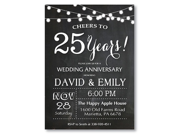 25th Wedding Anniversary Invitation Chalkboard String Lights Black And White 20th 30th 40th Any Year Printable Digital Customized Card