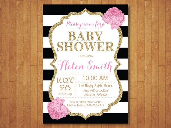Pink and gold baby shower invitation pink black gold glitter etsy image 0 filmwisefo