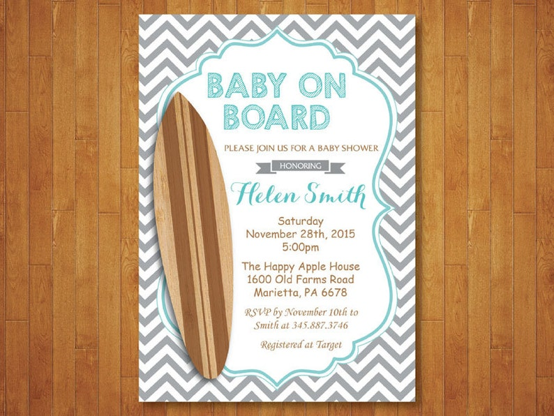 Baby On Board Shower Invitation Surfer Surf Invite Teal Aqua Brown Gray Chevron Printable Digital