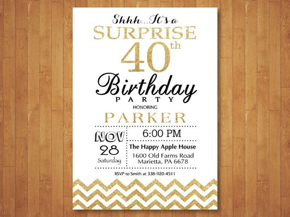 surprise 40th birthday invitation glitter gold and white etsy