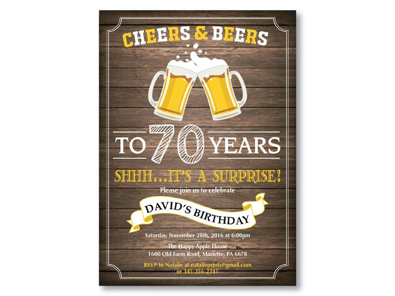 Surprise 70th Birthday Invitation Cheers And Beers To 70