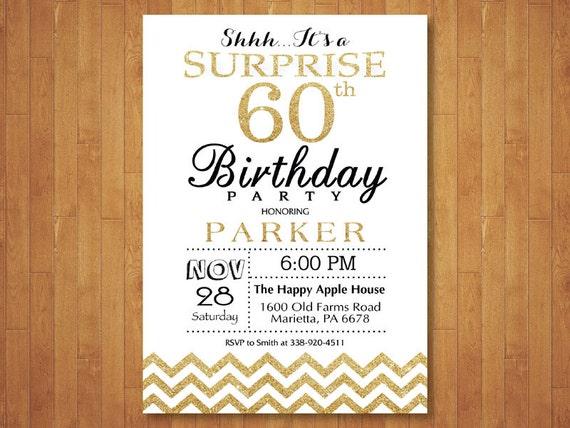 Sorpresa 30 Cumpleaños Invitación Chevron De Oro Y Blanco Brillo 40 50 Cualquier Edad Cumpleaños Adultos Los Hombres O Las Mujeres Cumple Digital