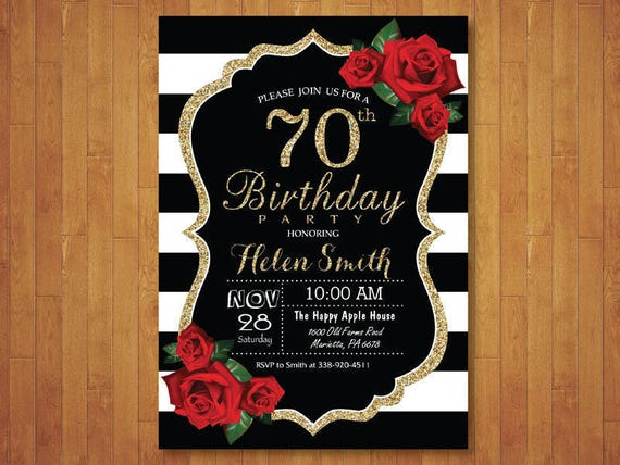 70th birthday invitation for women red roses black and white etsy