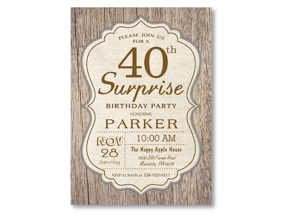 Surprise 40th Birthday Invitation Rustic Wood Vintage Man