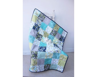baby quilt blue, green grey white, baby shower gift, modern play mat, toddler blanket,lap quilt,snuggly child's car blanket, cotton fabric,