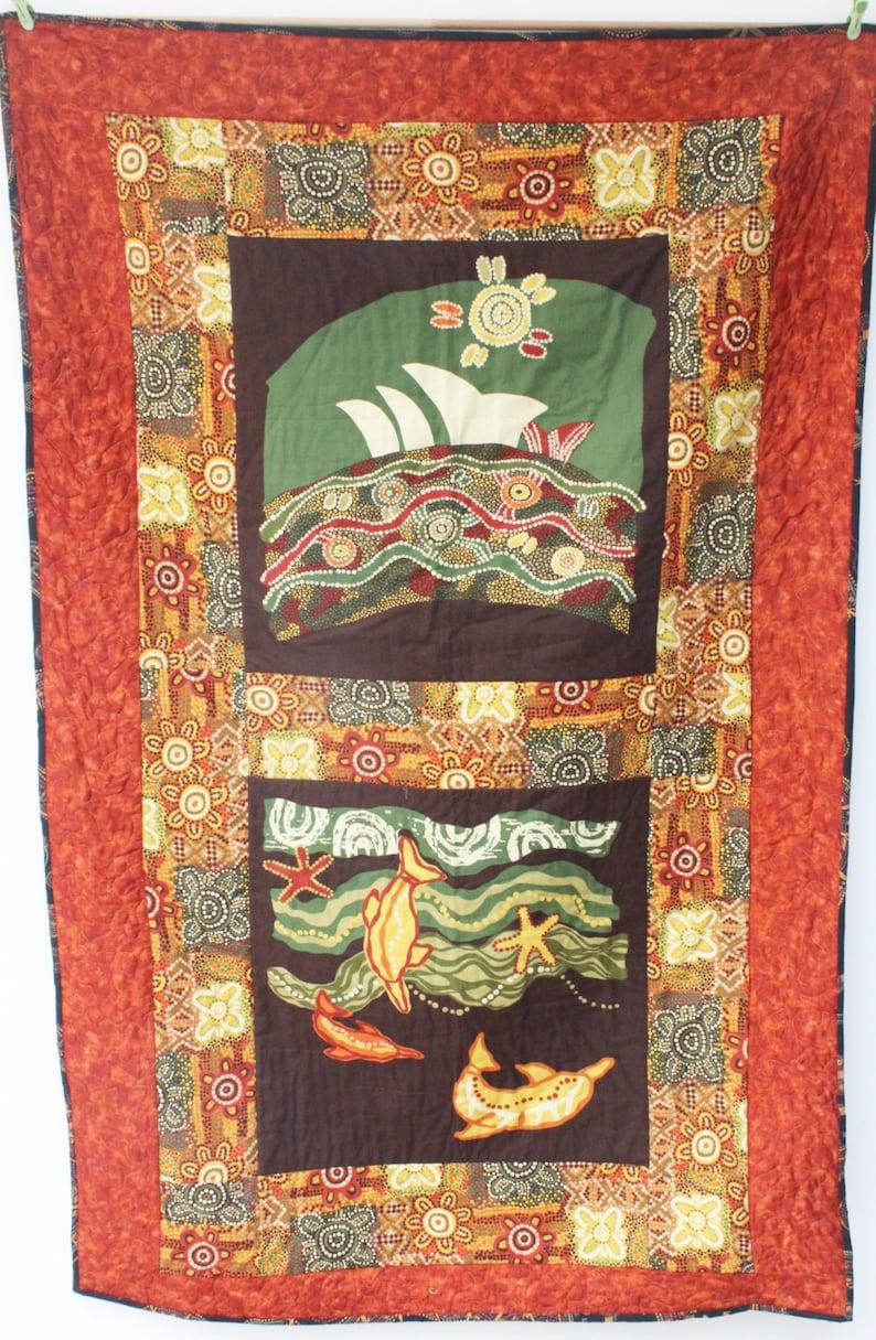 Aboriginal Art Quilt Australian Fabric Desert Walkabout Sofa Etsy