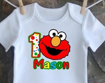 Printable ELMO Sesame Street PERSONALIZED 1st Birthday Shirt |  Graphic T Shirt Transfer Digital Iron On Prints | Print at Home Custom DIY