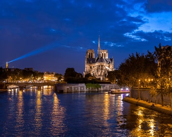 Paris France Eiffel Tower Notre Dame Cathedral Art Photography Print Wall Decor