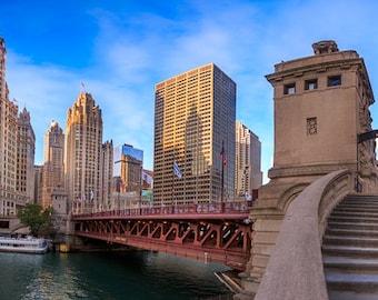 Chicago Skyline Wrigley Building Art Photography Print Wall Decor