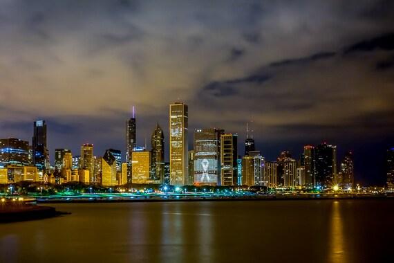 Chicago Skyline at Night Willis Tower Lake Michigan Art | Etsy