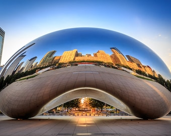 Chicago Cloud Gate Bean Art Photography Print Wall Decor