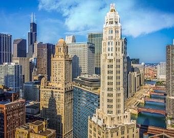 Chicago Skyline Bridges Marina City Towers Art Photography Print Wall Decor