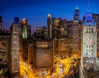 Chicago Skyline Wrigley Building Willis Tower Sunset Art Photography Print Wall Decor