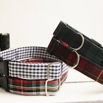 Dog Collar Tartan Varieties - red, green/blue, gingham. Dog collars plaid & gingham. Matching lead available. Plastic or metal clasp options