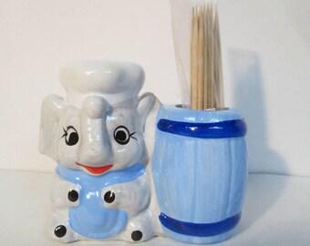 Vintage Elephant Chef Baker Cook with Barrel Ceramic Toothpick Holder Figurine