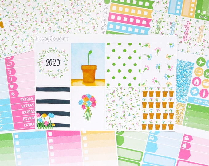Fresh Blooms Planner Sticker Kit (New Years 2020) for Vertical Erin Condren (7 sheets)