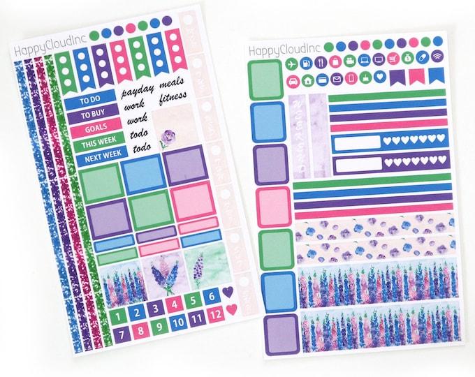 Delphinium Hobonichi Weeks Planner Sticker Kit (2 sheets)