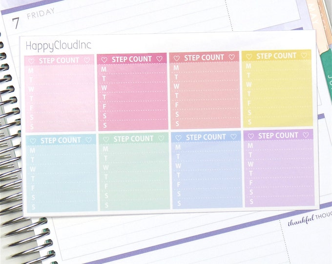 Horizontal Notes Weekly Step Count Planner Stickers