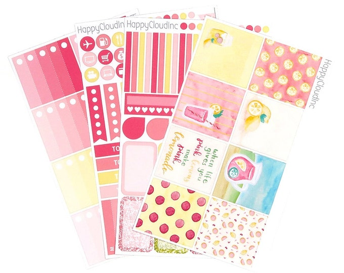 Pink Lemonade HORIZONTAL Planner Stickers Kit for use with Erin Condren LifePlanner™ (4 sheets)