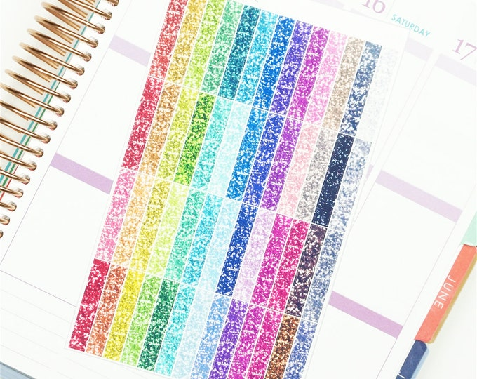 Multicolour Glitter Blank Label / Header Planner Stickers