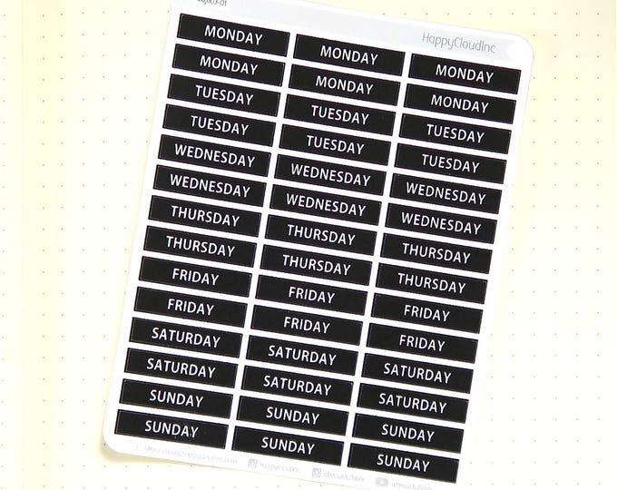 Bullet Journal Weekday Label Planner Stickers
