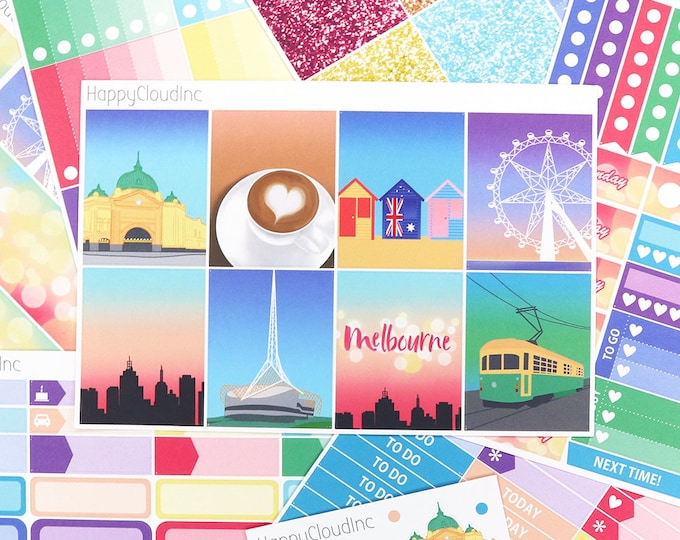 My Melbourne, Australia Planner Sticker Kit for Vertical Erin Condren (7 sheets)