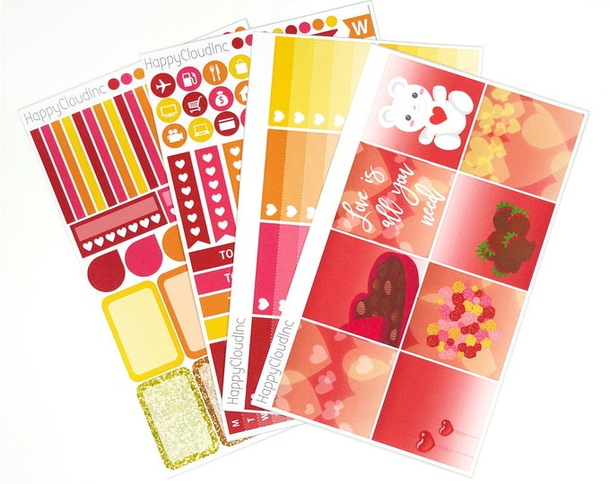 Valentines Love HORIZONTAL Planner Stickers Kit for use with Erin Condren LifePlanner™ (4 sheets)