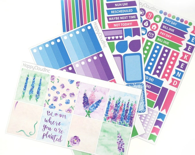 Delphinium HORIZONTAL Planner Stickers Kit for use with Erin Condren LifePlanner™ (4 sheets)
