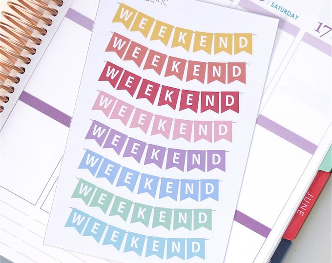 Pastel Rainbow Weekend Banner Planner Stickers for use with Erin Condren LifePlanner™