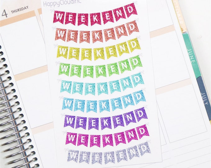 Multicolour Glitter Weekend Banner Planner Stickers