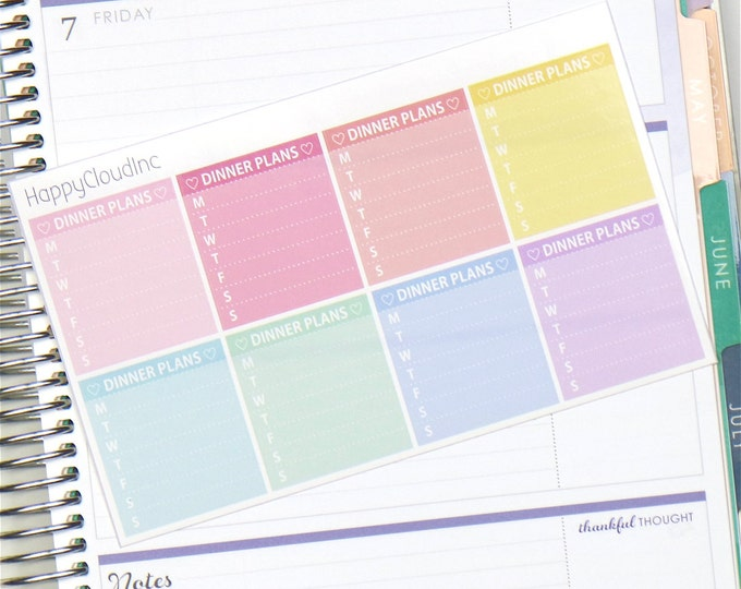 Horizontal Notes Weekly Dinner Planner Stickers