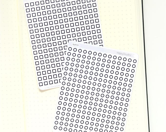 Bullet Journal Mini Checkbox Planner Stickers | BUJO Stickers | Bullet Journal Stickers
