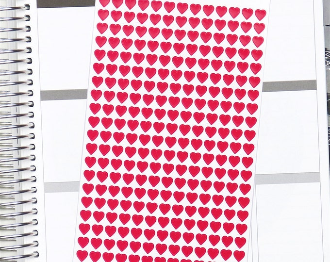 Mini Red Heart Planner Stickers (260 Stickers)