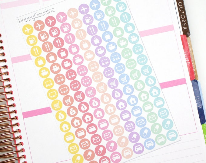 Pastel Rainbow Daily Icon Planner Stickers