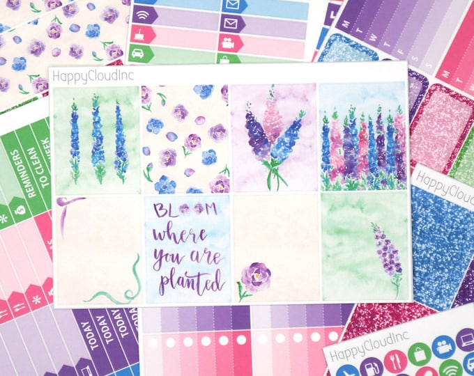 Delphinium Planner Sticker Kit for Vertical Erin Condren LifePlanner™ (8 sheets)