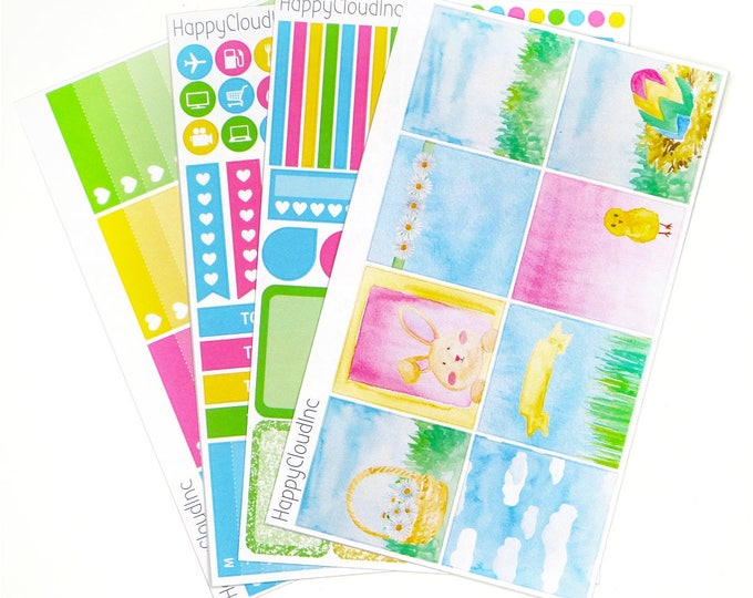Spring Bunnies HORIZONTAL Planner Stickers Kit for use with Erin Condren LifePlanner™ (4 sheets)