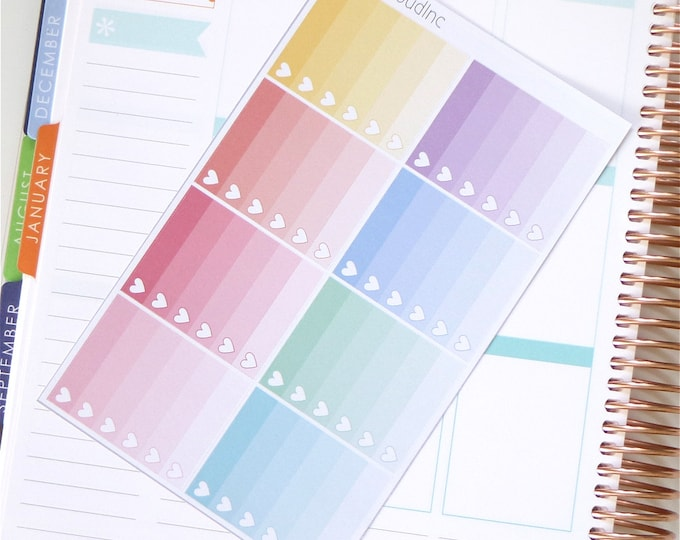 Pastel Rainbow Ombre Heart Checklist Planner Stickers