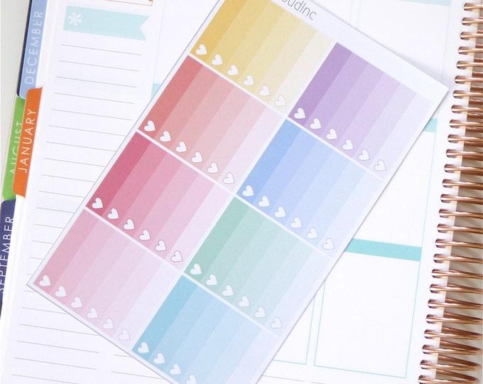 Pastel Rainbow Ombre Heart Checklist Planner Stickers