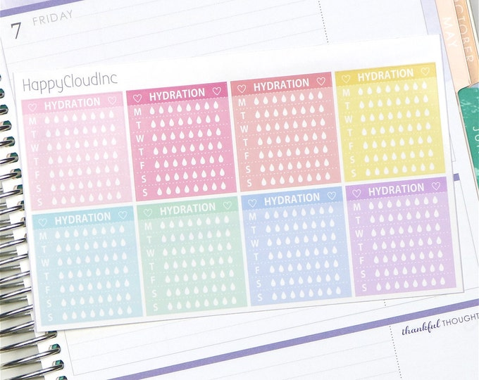 Horizontal Notes Weekly Hydration Planner Stickers