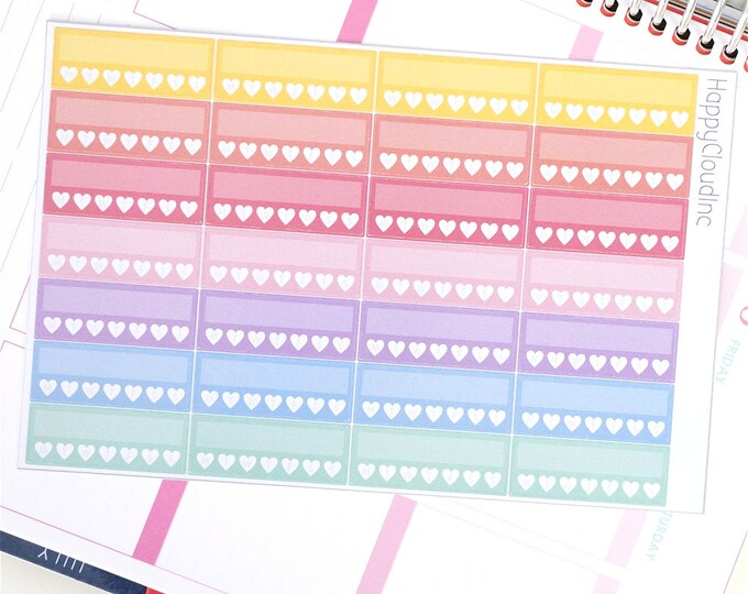 Pastel Rainbow Glossy Sidebar Habit Tracker Planner Stickers for use with Erin Condren LifePlanner™